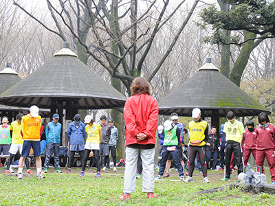 代々木公園練習会の風景 準備運動